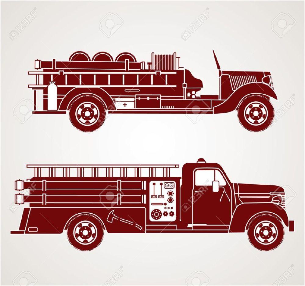 medium resolution of vector vintage fire trucks