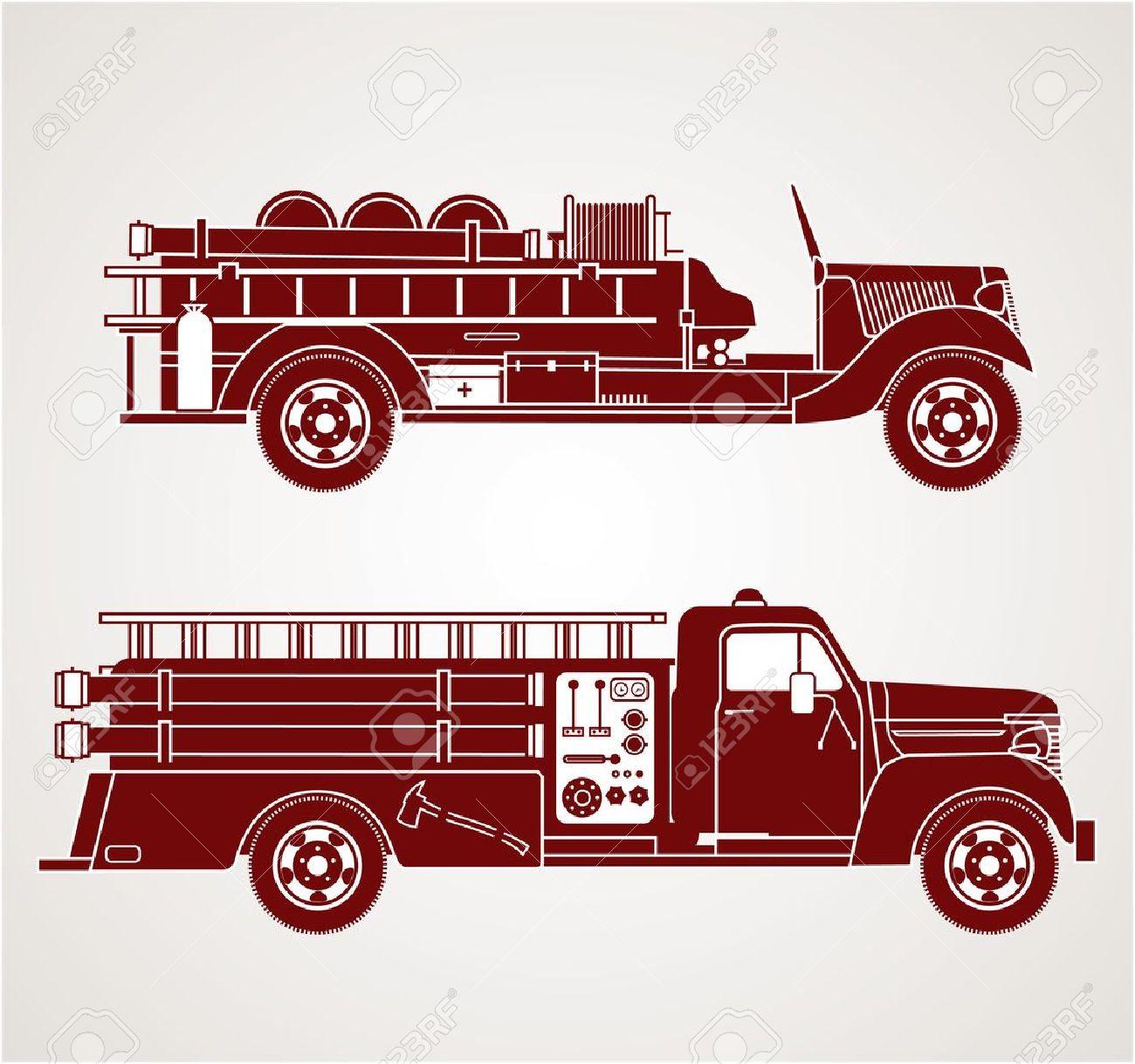 hight resolution of vector vintage fire trucks