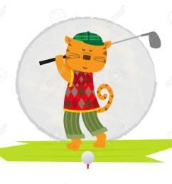 cartoon clip art of a cat playing golf stock vector 57658855 [ 1300 x 1136 Pixel ]