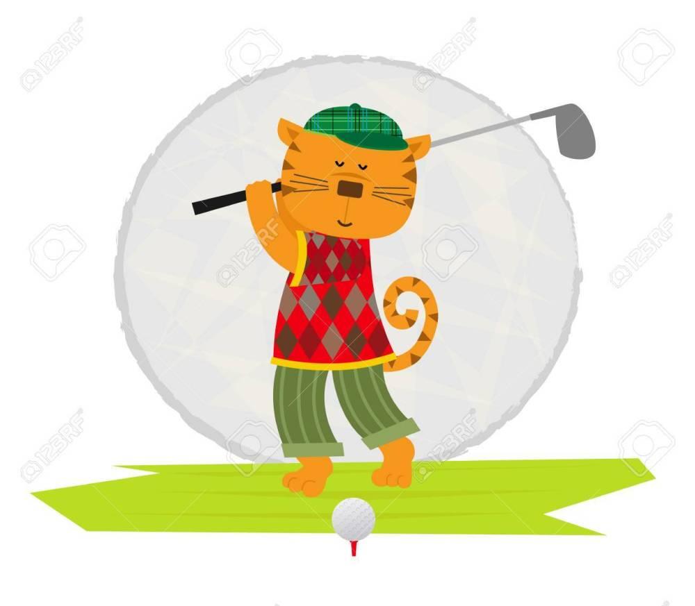 medium resolution of cartoon clip art of a cat playing golf stock vector 57658855