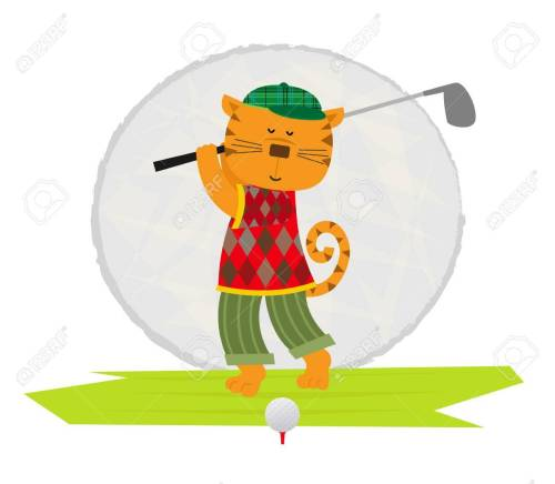 small resolution of cartoon clip art of a cat playing golf stock vector 57658855