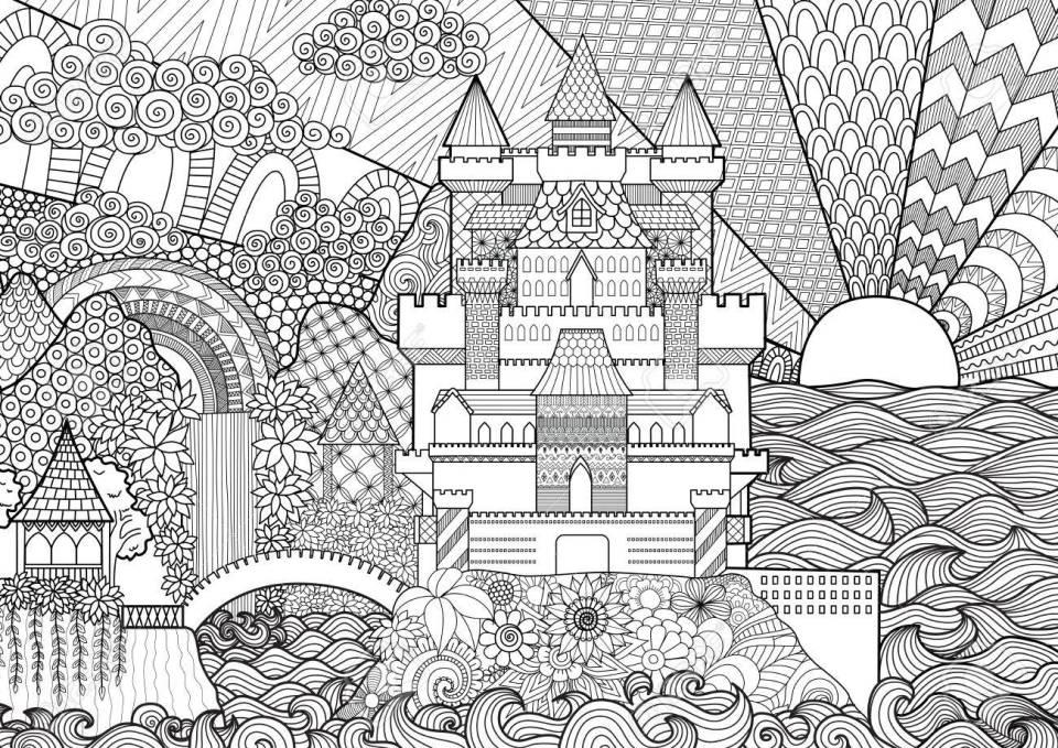 背景、大人のぬりえデザイン要素に zendoodle 城の風景です。のイラスト