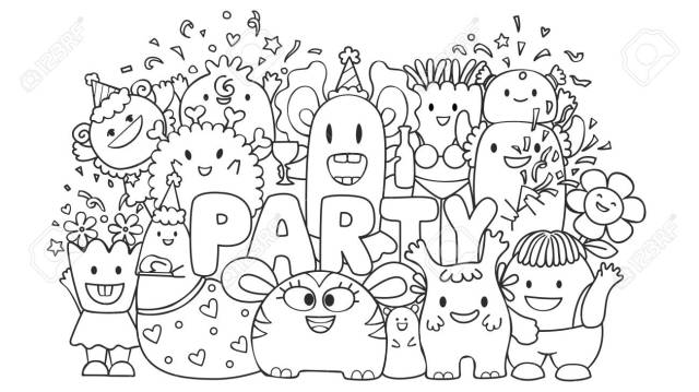 Cute Monsters In The Party For Design Element And Kids Coloring