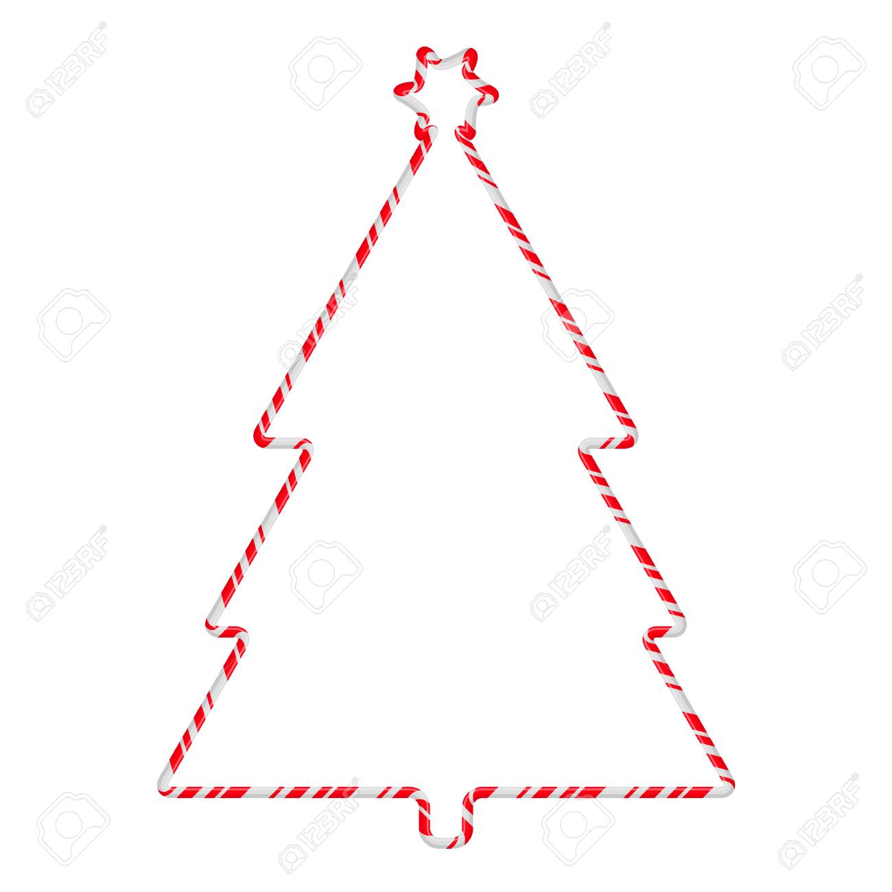 hight resolution of candy cane frame border tree shape vector christmas design isolated on white background stock vector