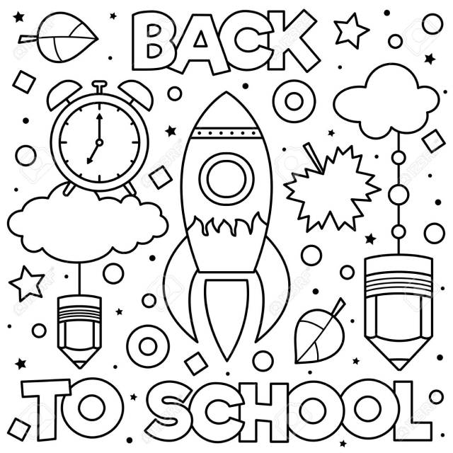 Back To School. Coloring Page. Black And White Vector Illustration