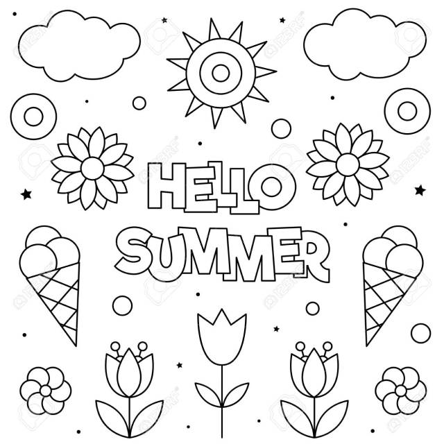 Hello Summer. Coloring Page. Black And White Vector Illustration