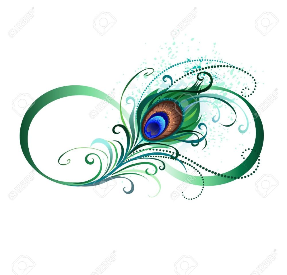 medium resolution of the symbol of infinity with a bright green artistic peacock feather on a white