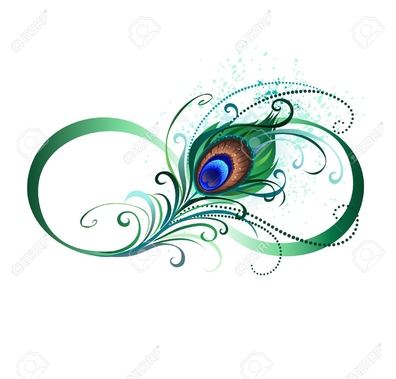 hight resolution of the symbol of infinity with a bright green artistic peacock feather on a white