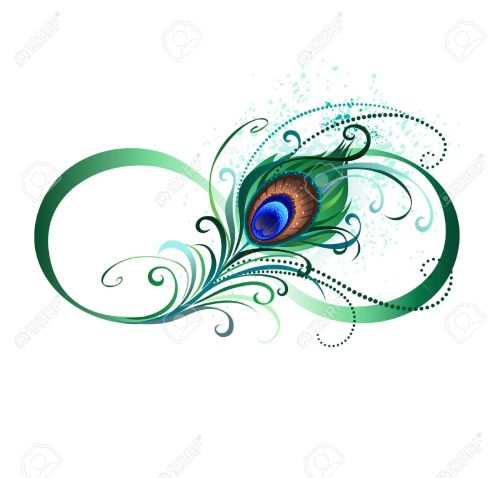 small resolution of the symbol of infinity with a bright green artistic peacock feather on a white