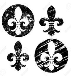 set of fleur de lis painted in black on a white background  [ 1300 x 1264 Pixel ]