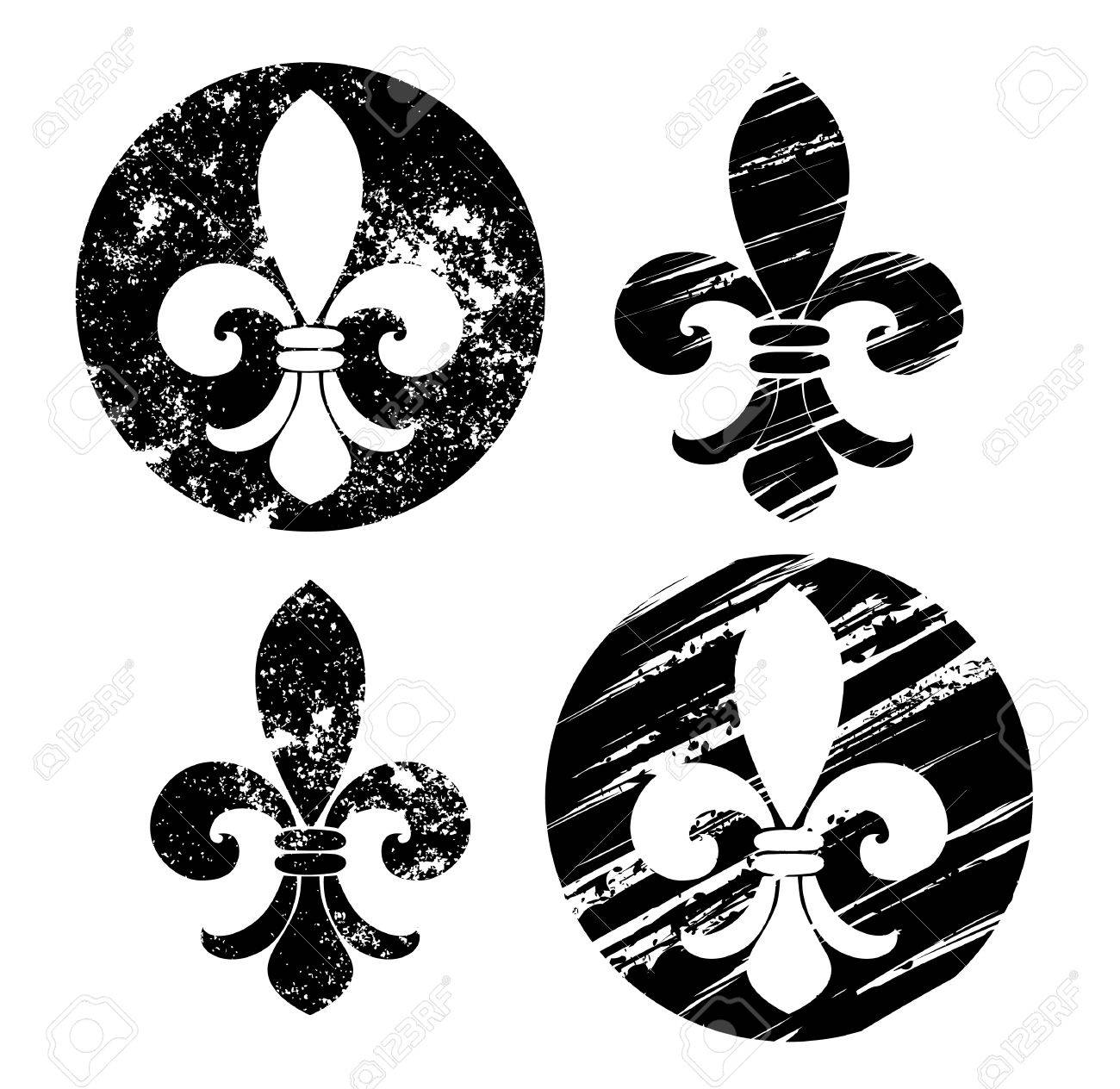 hight resolution of set of fleur de lis painted in black on a white background