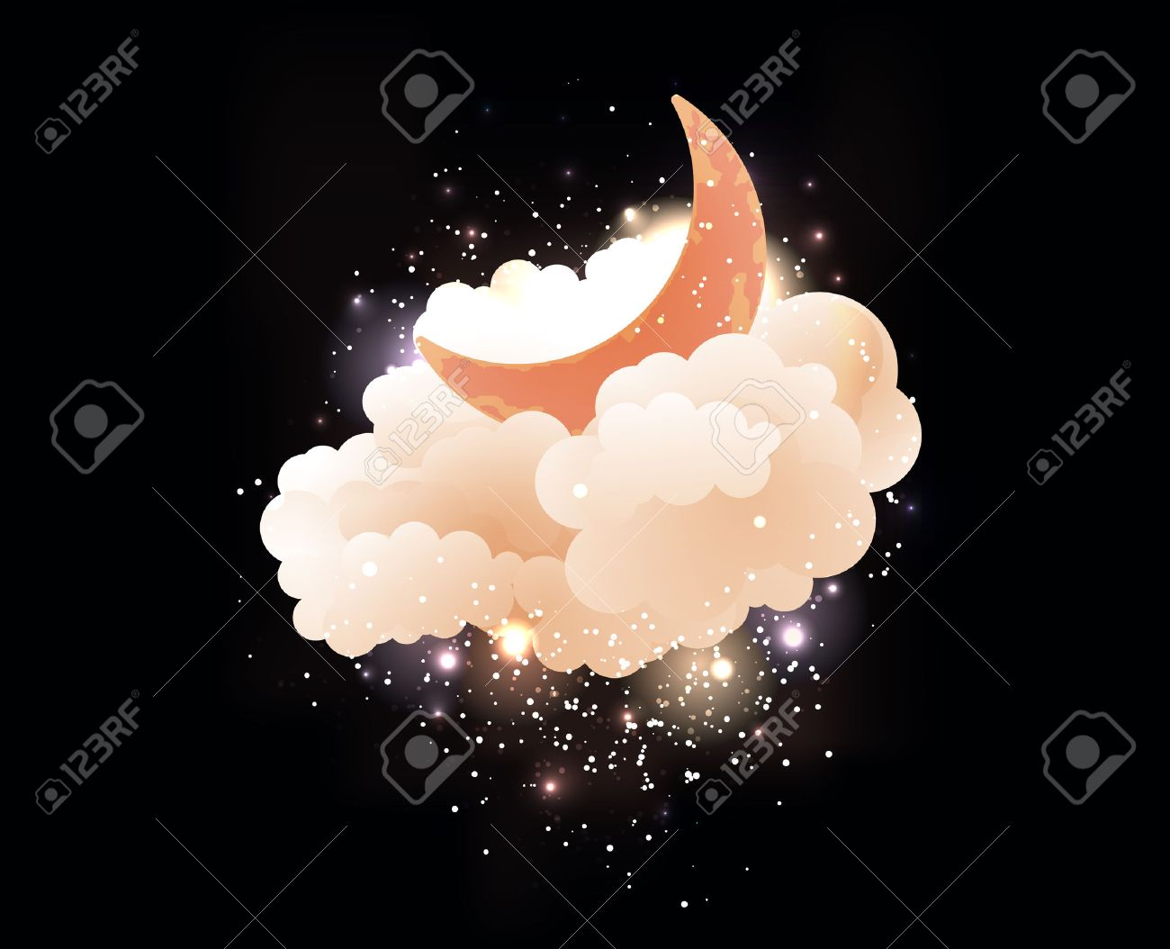 moon clouds and stars
