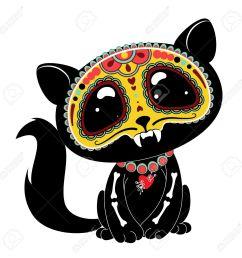 day of the dead dia de los muertos style kitty [ 1300 x 1300 Pixel ]