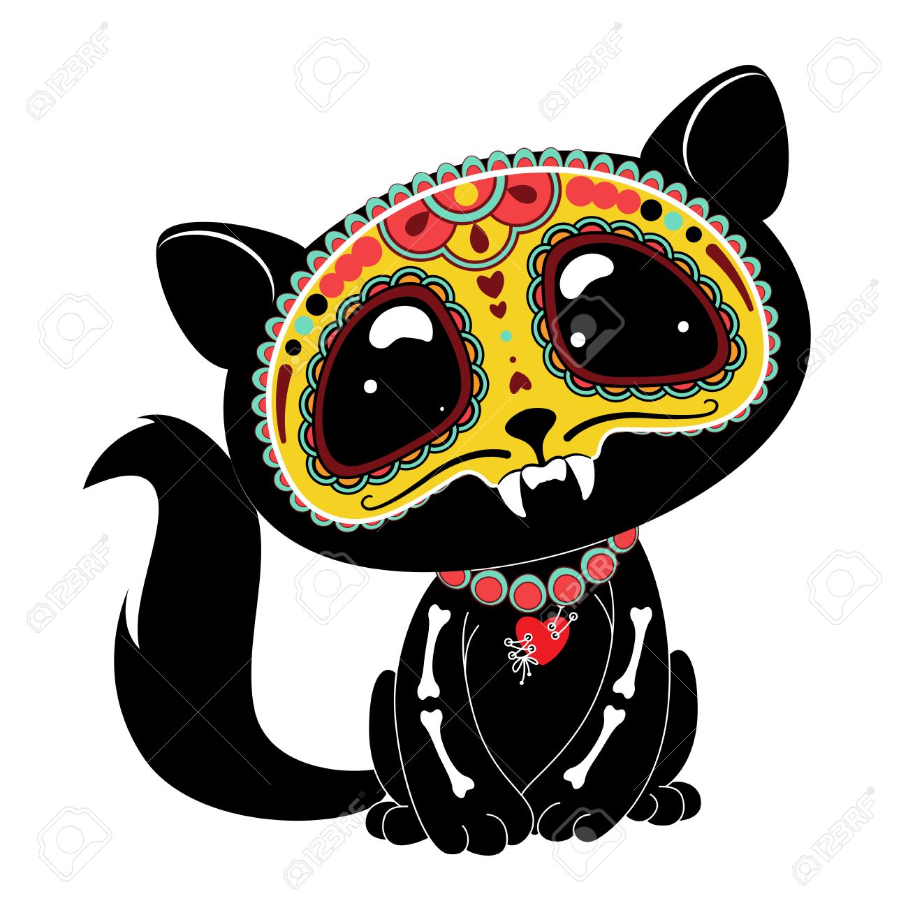 hight resolution of day of the dead dia de los muertos style kitty