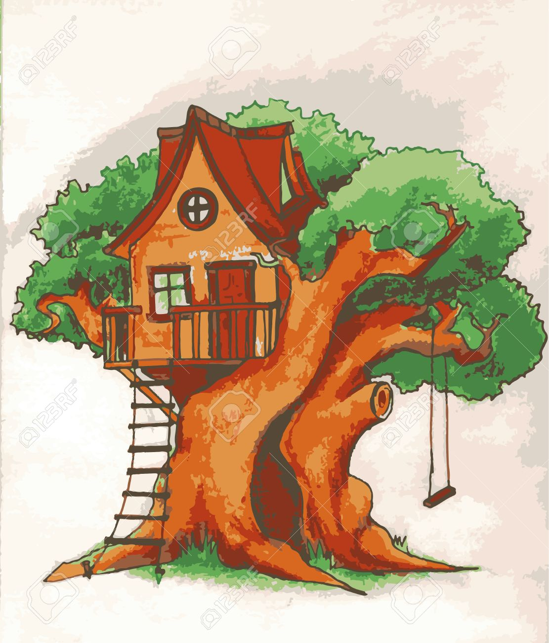 Tree House House On Tree For Kids Children Playground With Royalty Free Cliparts Vectors And Stock Illustration Image 68501001
