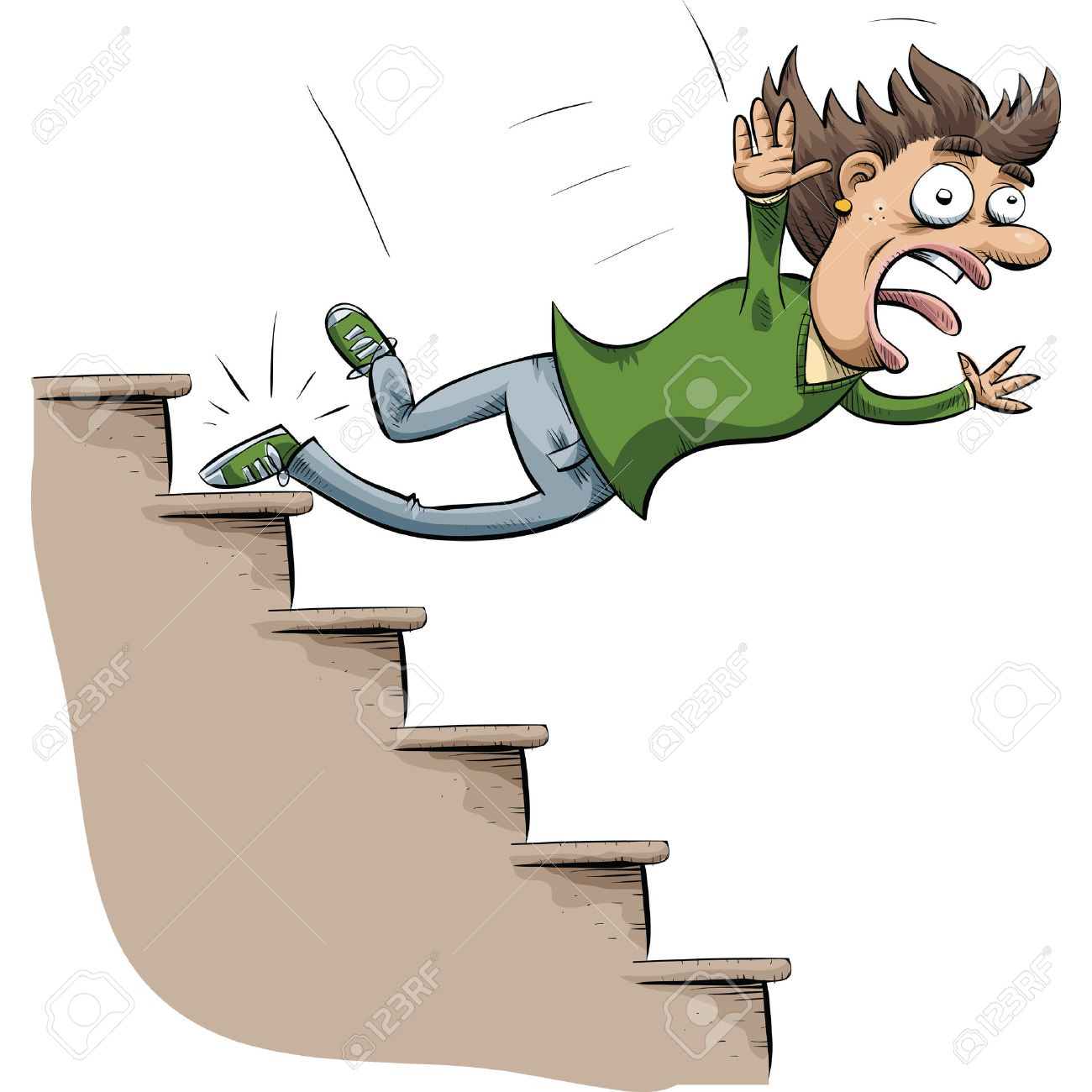 hight resolution of a cartoon woman trips and falls down stairs illustration