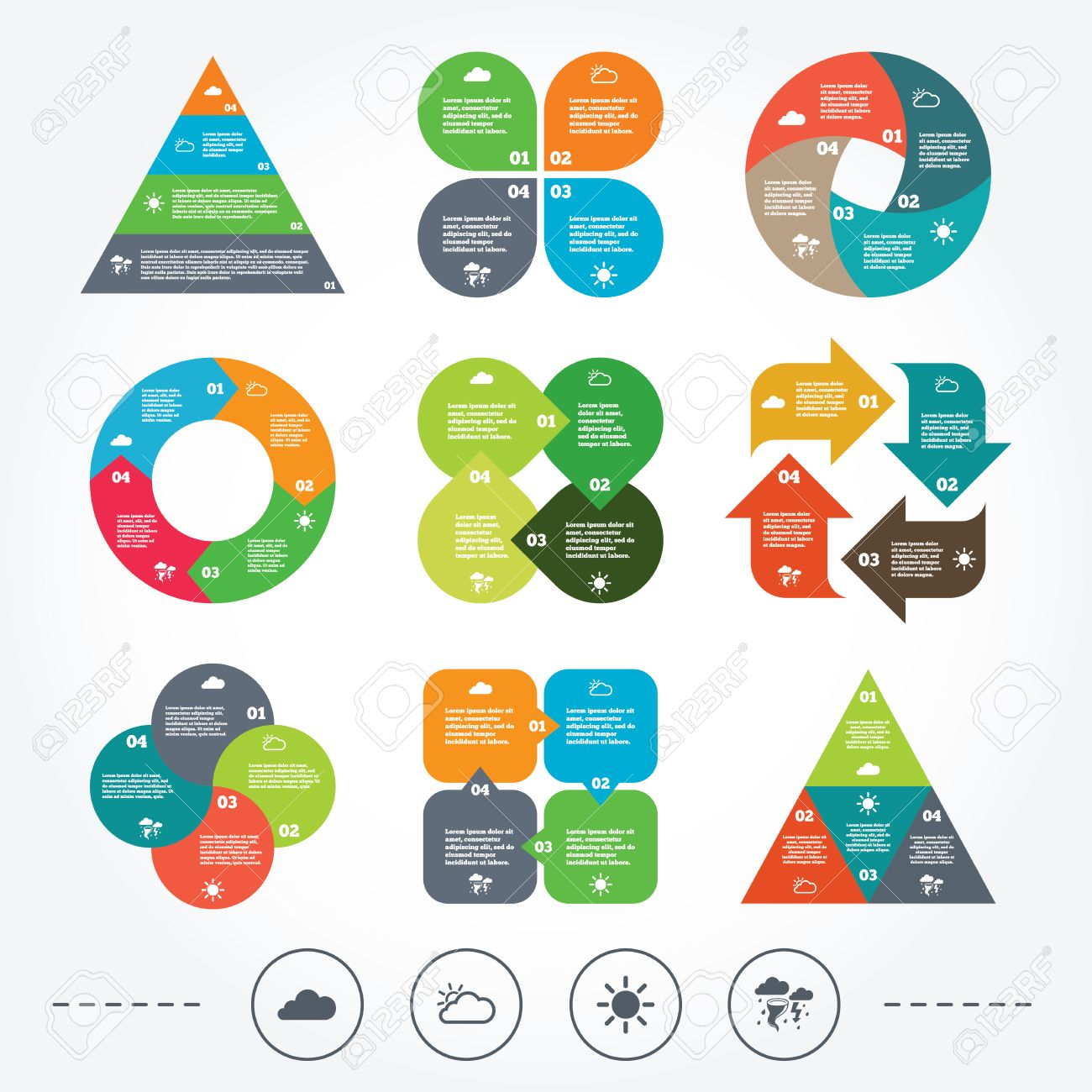 hight resolution of circle and triangle diagram charts weather icons cloud and sun signs storm or