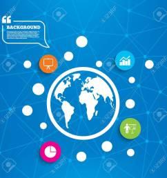 abstract world globe diagram graph pie chart icon presentation billboard symbol man standing [ 1300 x 1300 Pixel ]