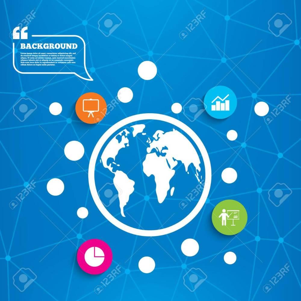 medium resolution of abstract world globe diagram graph pie chart icon presentation billboard symbol man standing