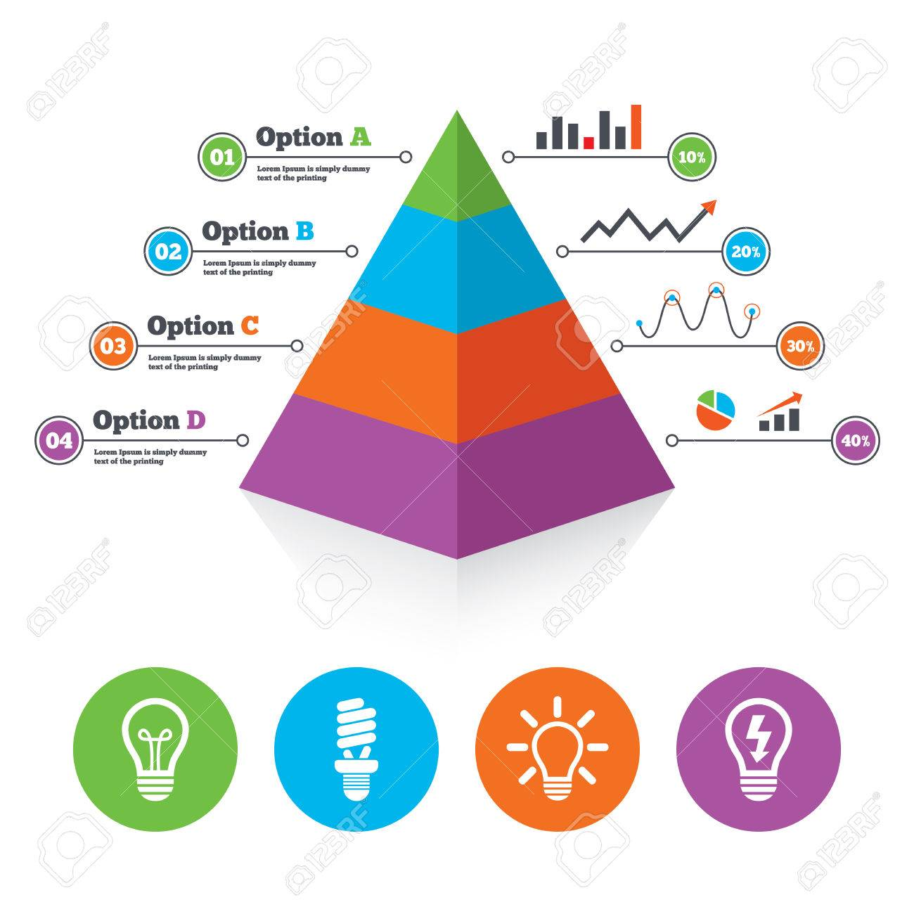 hight resolution of pyramid chart template light lamp icons fluorescent lamp bulb symbols energy saving