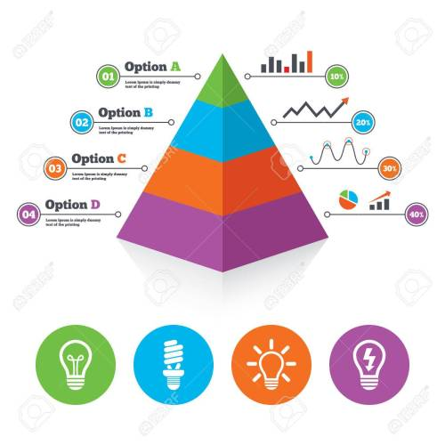 small resolution of pyramid chart template light lamp icons fluorescent lamp bulb symbols energy saving