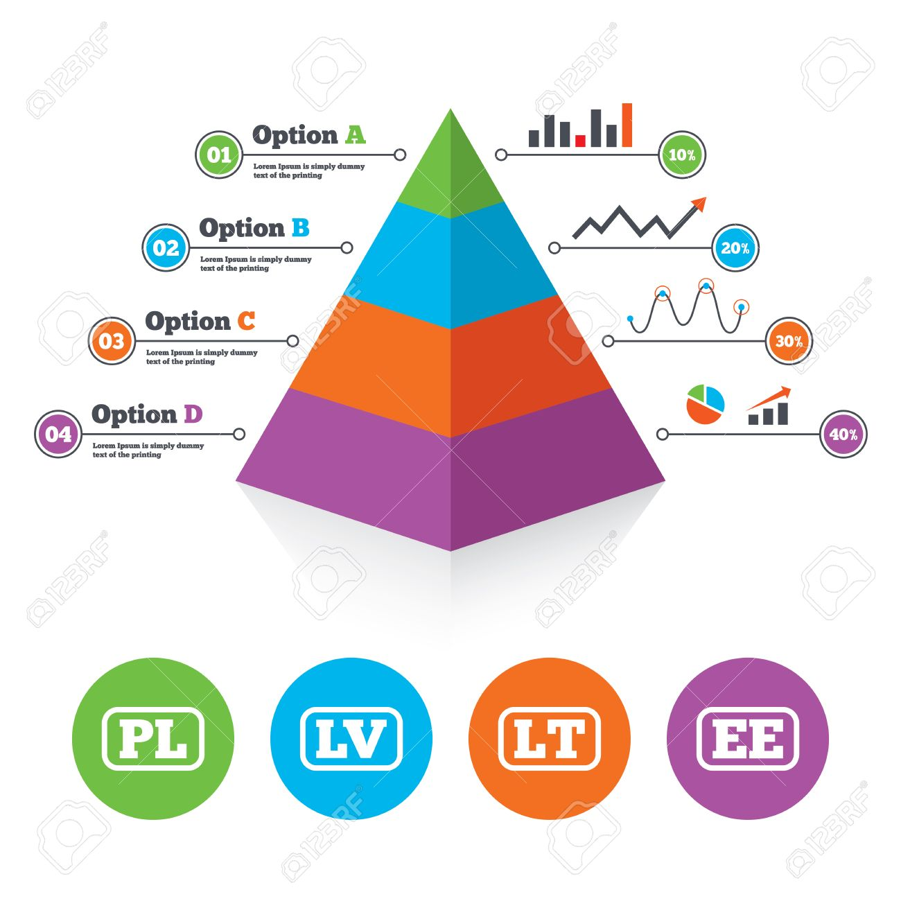 hight resolution of pyramid chart template language icons pl lv lt and ee translation symbols