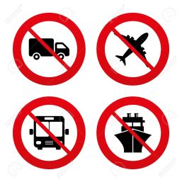 No, Ban Or Stop Signs. Transport Icons. Truck, Airplane, Public ...