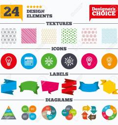 banner tags stickers and chart graph light lamp icons circles lamp bulb symbols [ 1300 x 1300 Pixel ]