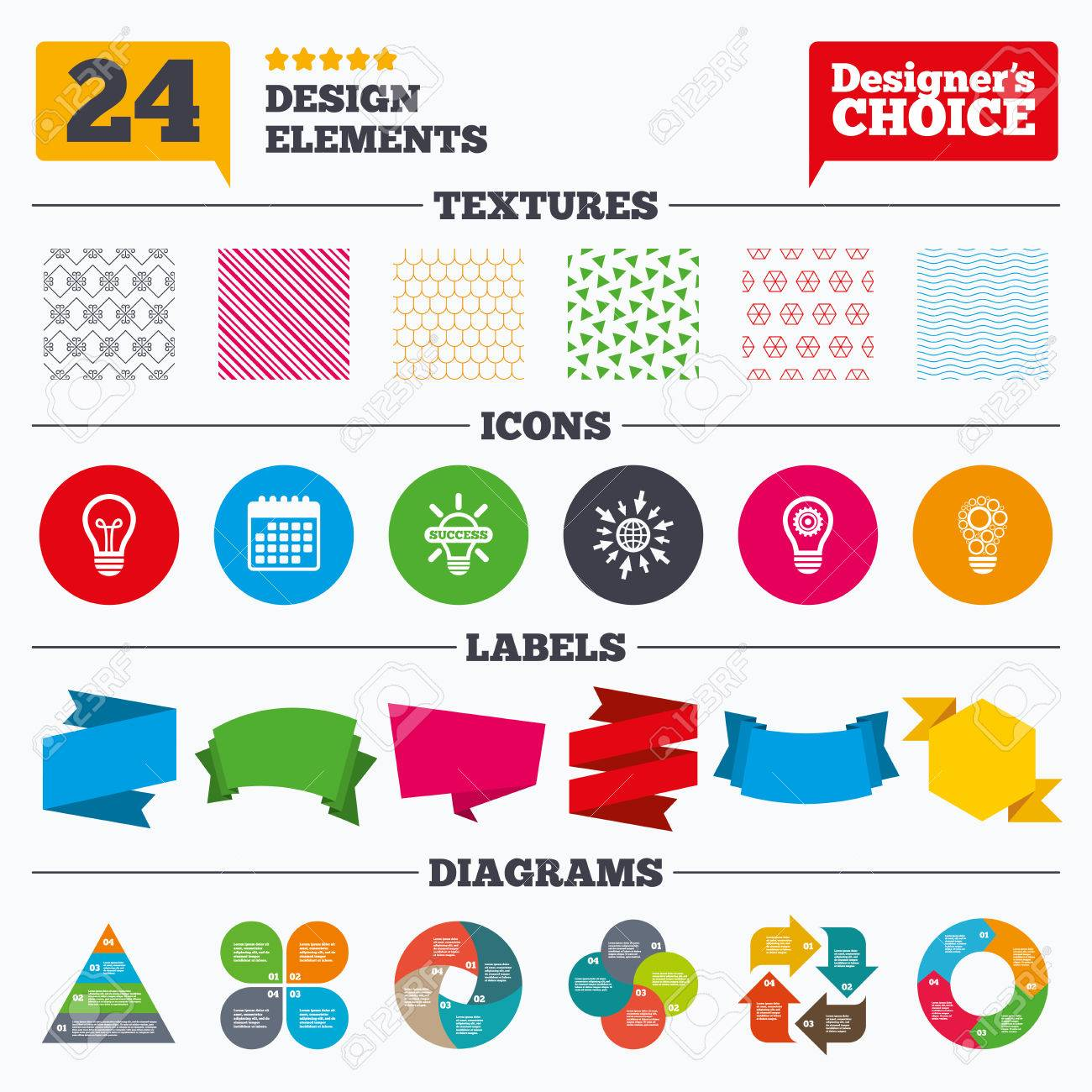hight resolution of banner tags stickers and chart graph light lamp icons circles lamp bulb symbols