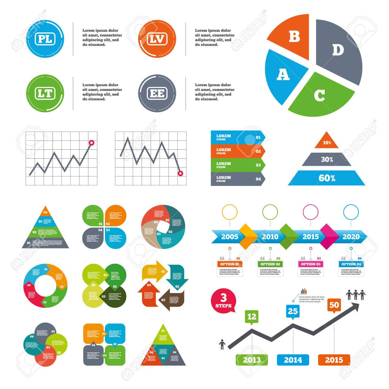 hight resolution of data pie chart and graphs language icons pl lv lt and ee