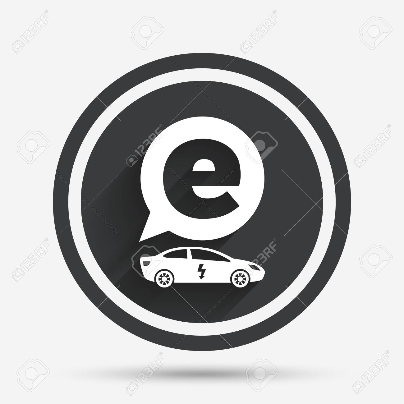 hight resolution of electric car sign icon sedan saloon symbol electric vehicle transport circle flat button