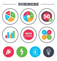 business pie chart growth graph electric plug icon lamp bulb and battery symbols [ 1300 x 1300 Pixel ]