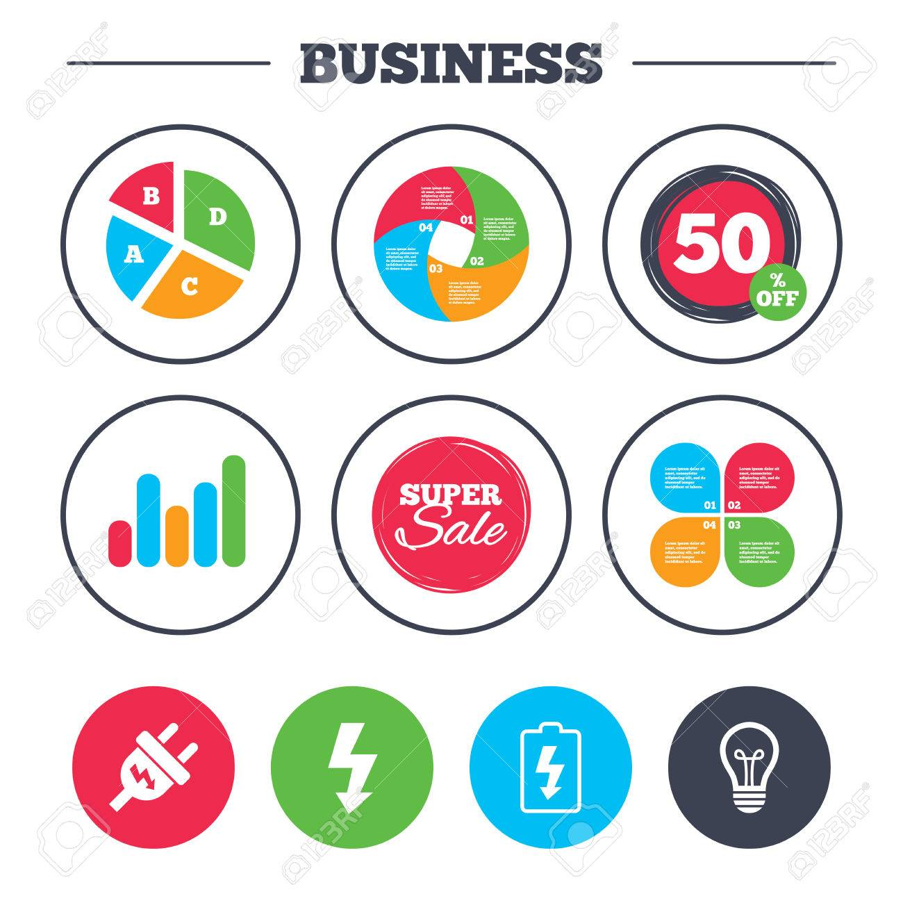 hight resolution of business pie chart growth graph electric plug icon lamp bulb and battery symbols