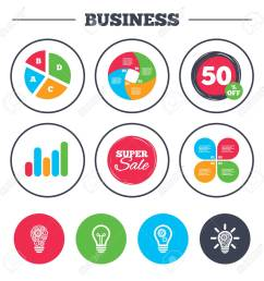 business pie chart growth graph light lamp icons lamp bulb with cogwheel gear [ 1300 x 1300 Pixel ]