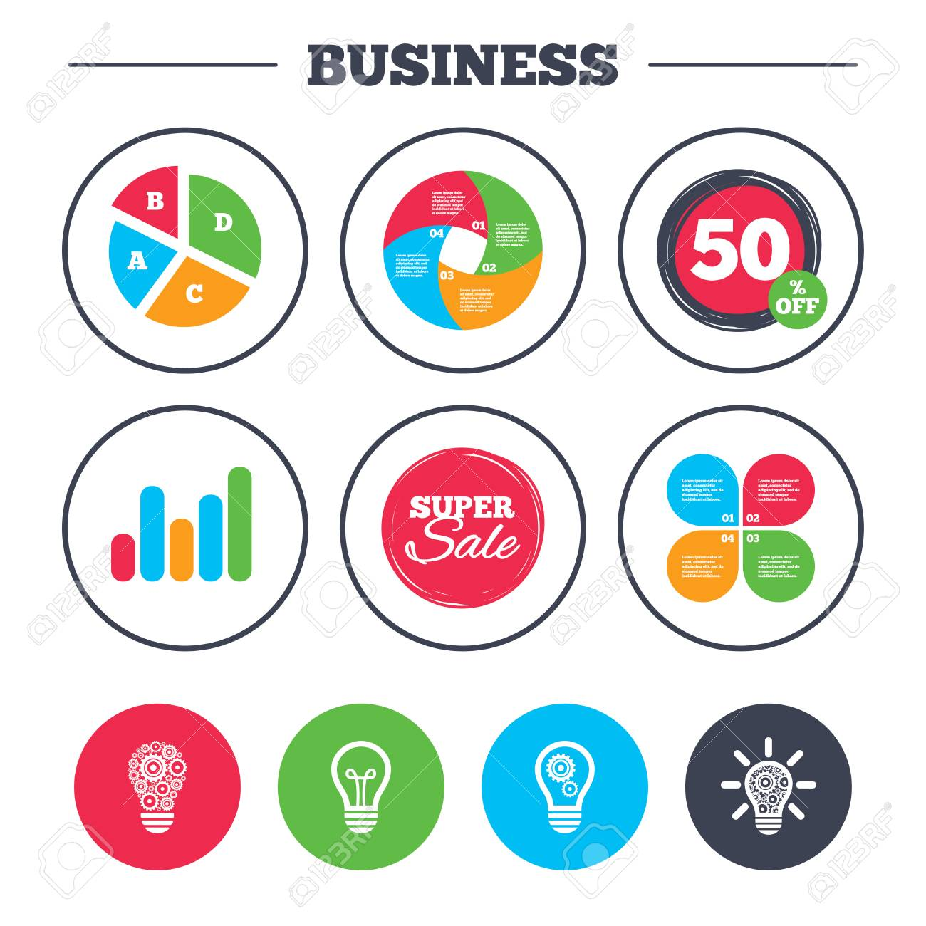 hight resolution of business pie chart growth graph light lamp icons lamp bulb with cogwheel gear
