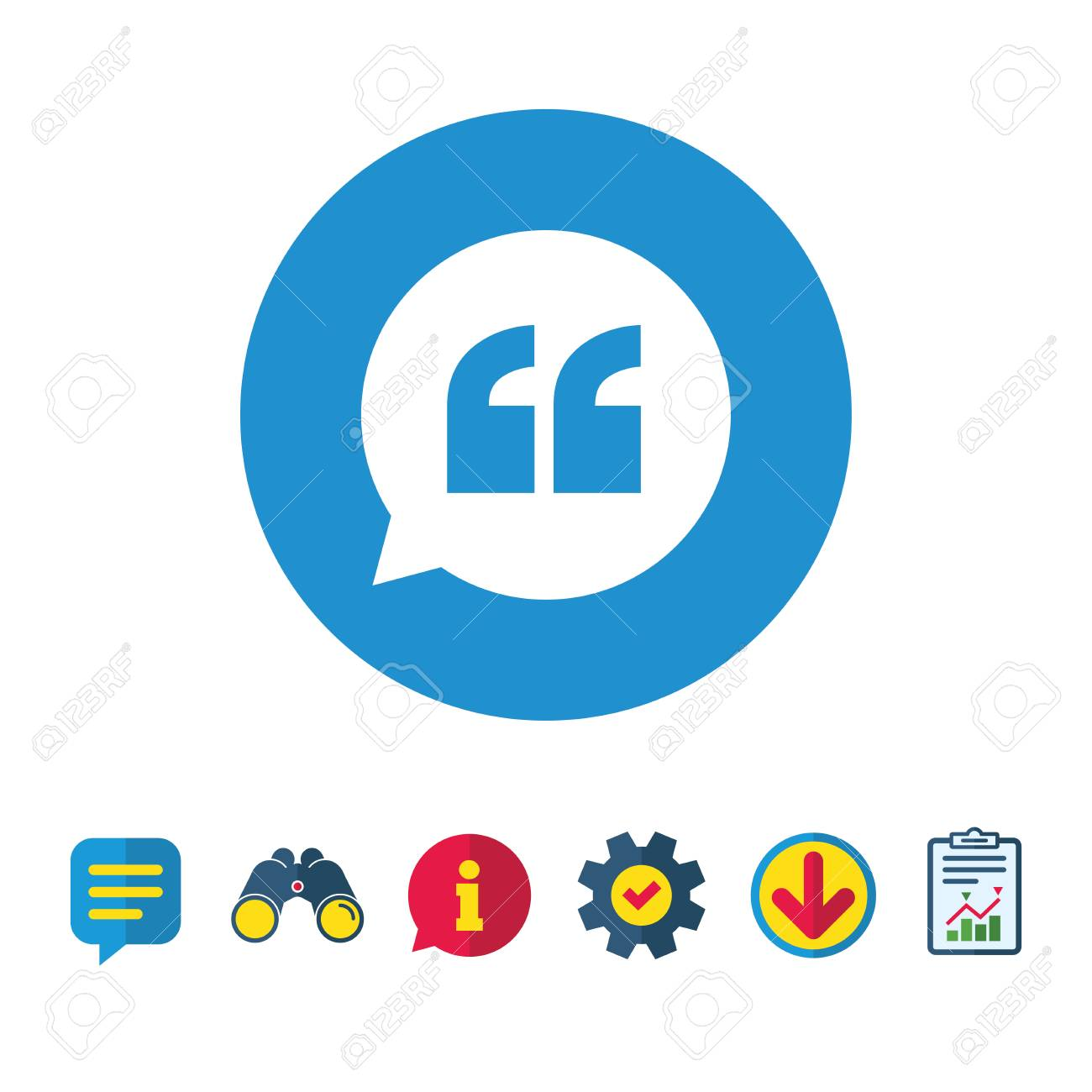 Quote Sign Icon. Quotation Mark In Speech Bubble Symbol. Double Quotes.  Information,