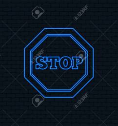 neon light traffic stop sign icon caution symbol glowing graphic design brick [ 1300 x 1051 Pixel ]