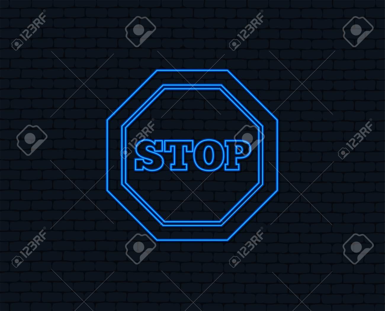 hight resolution of neon light traffic stop sign icon caution symbol glowing graphic design brick