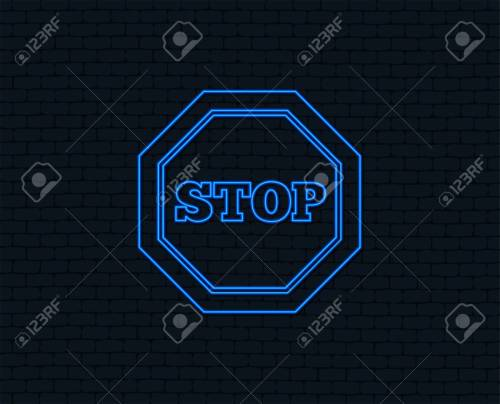 small resolution of neon light traffic stop sign icon caution symbol glowing graphic design brick