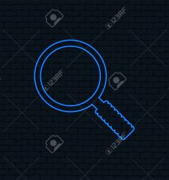 neon light magnifier glass sign icon zoom tool button navigation search symbol  [ 1300 x 1051 Pixel ]