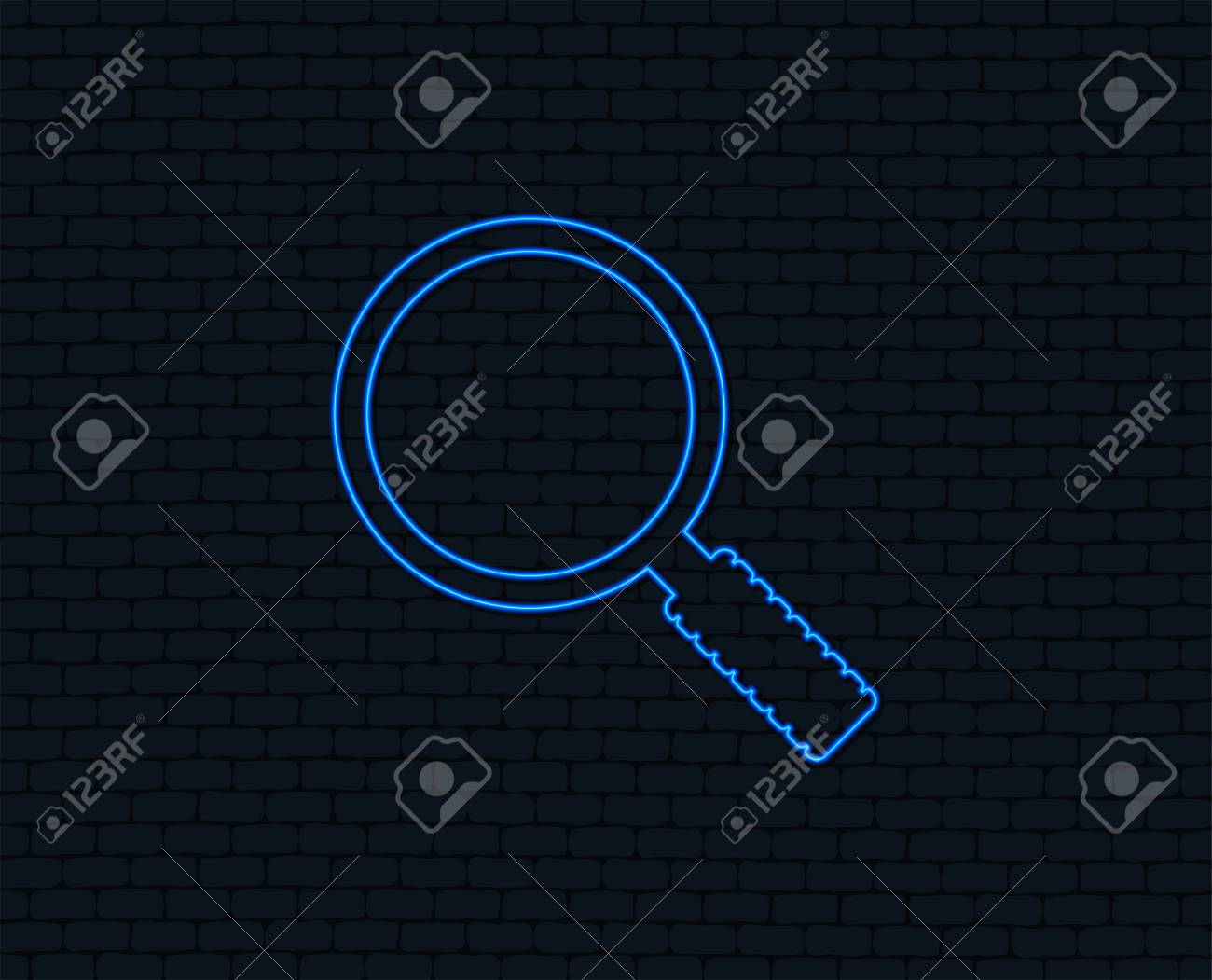 hight resolution of neon light magnifier glass sign icon zoom tool button navigation search symbol
