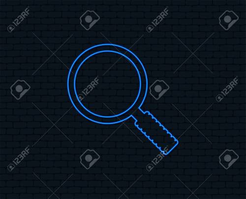 small resolution of neon light magnifier glass sign icon zoom tool button navigation search symbol