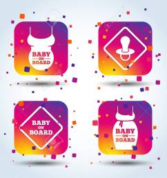 baby on board icons infant caution signs child pacifier nipple pregnant woman dress [ 1300 x 1051 Pixel ]