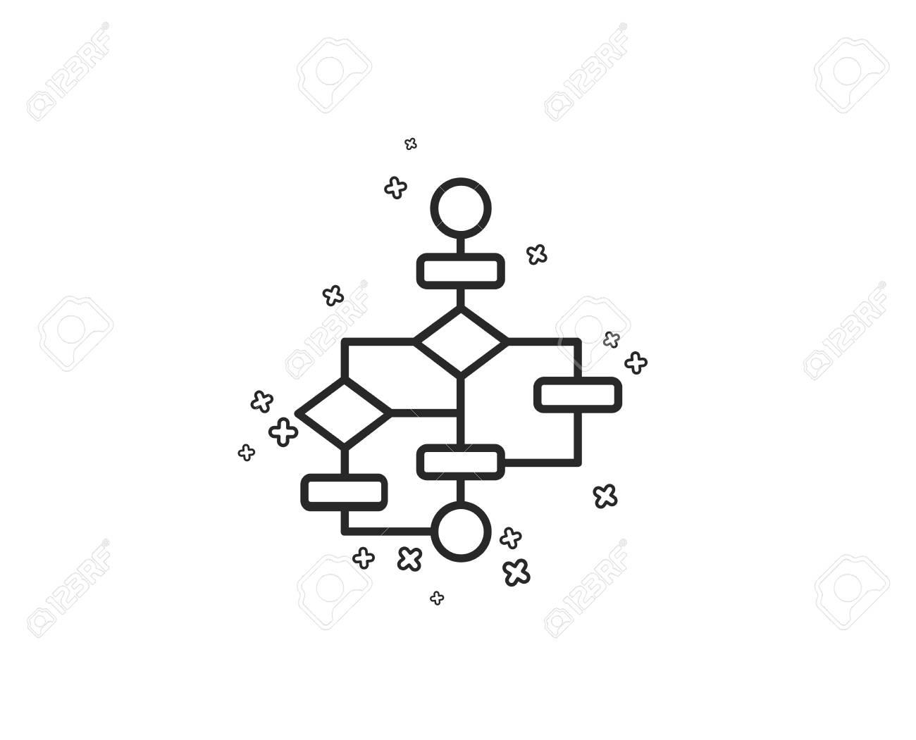 hight resolution of block diagram line icon path scheme sign algorithm symbol geometric shapes random