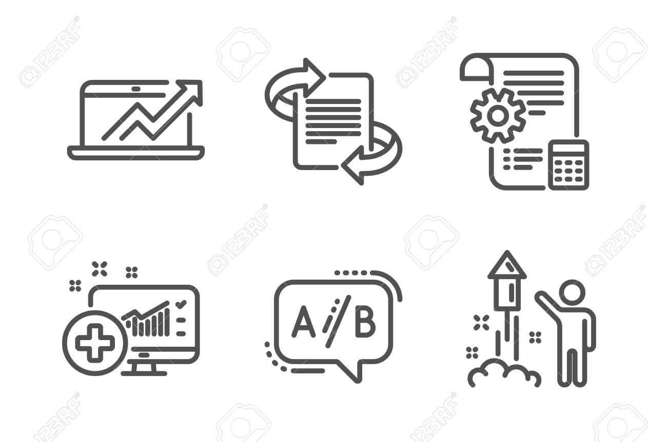 hight resolution of medical analytics settings blueprint and ab testing icons simple simple firework diagram