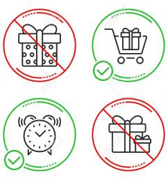 shopping cart gift box and alarm clock icons simple set surprise package sign gift box present package time present boxes line shopping cart do icon  [ 1300 x 1051 Pixel ]