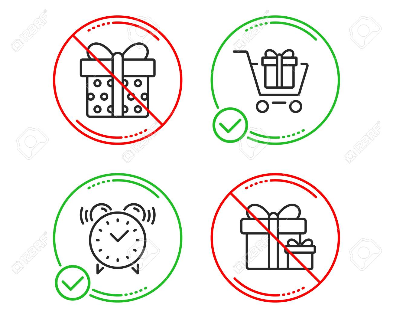 hight resolution of shopping cart gift box and alarm clock icons simple set surprise package sign gift box present package time present boxes line shopping cart do icon