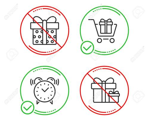small resolution of shopping cart gift box and alarm clock icons simple set surprise package sign gift box present package time present boxes line shopping cart do icon