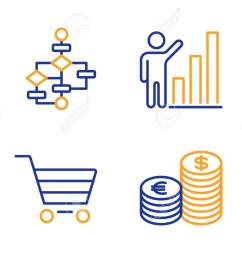 market sale graph chart and block diagram icons simple set currency sign customer [ 1300 x 1051 Pixel ]