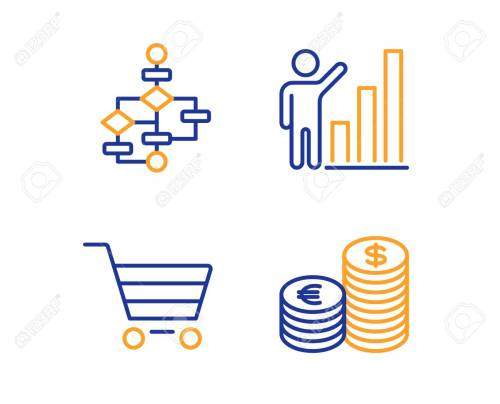 small resolution of market sale graph chart and block diagram icons simple set currency sign customer